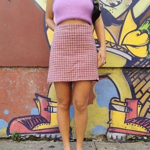 Vintage J Crew pink checker mini skirt